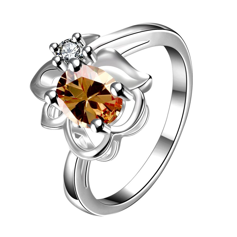Yellow Citrine Floral Stud Petite Ring Size 8 damaizhang yellow 8