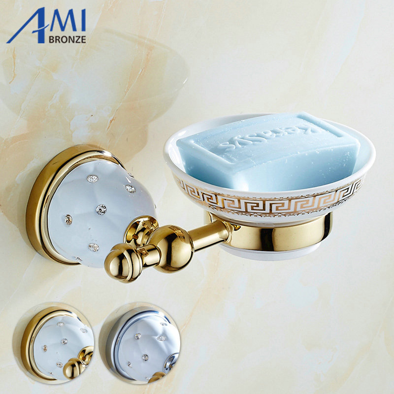63GD Series Golden Polish Soap Network With Diamond Soap Dishes Holder Bathroom Accessories Storage toilet vanity