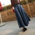 Улица женская старинные темный / голубой кнопка длинная юбка высокая талия большие качели юбка платье-линии вспыхнул бальное платье юбка F3471
