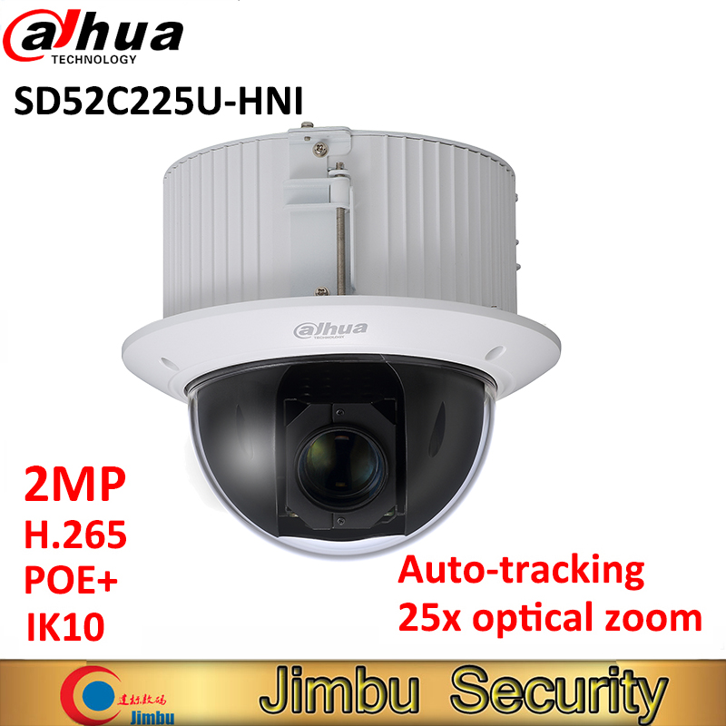 Dahua POE 2MP WDR camera SD52C225U-HNI PTZ 25x optical zoom focal lens 4.8mm~120mm H.265 PoE+ IP66 Auto-tracking IK10 dahua 4mp ptz camera sd59430u hni h 265 30x optical zoom 4 5mm 135mm lens auto tracking and ivs support poe ir100m ip66 wdr