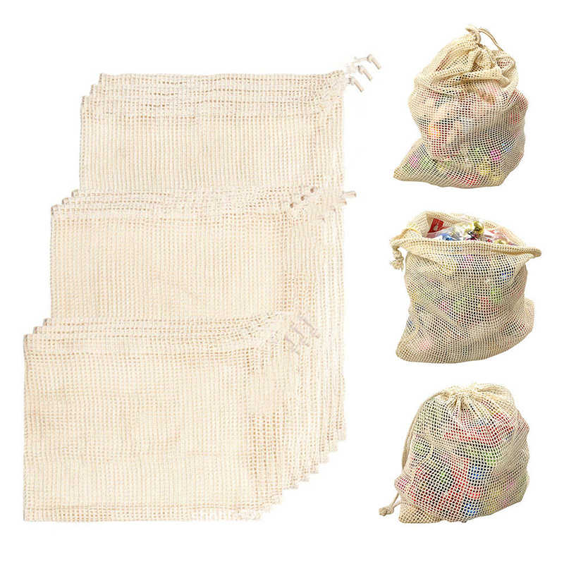 5pcs/lot Reusable Natural Cotton/Polyester Mesh Produce Bags Fruit Vegetables Storage Bag Home Kitchen Drawstring Shopping Bag