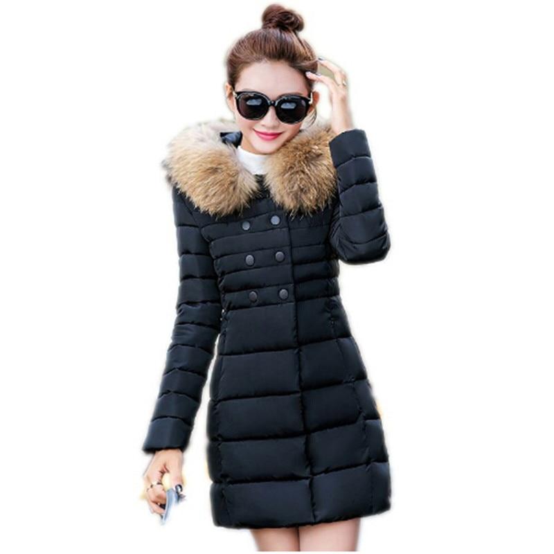100% Kwaliteit Ailooge 2017 Nieuwe Koreaanse Overjas Mode Down Gewatteerde Lange Paragraaf Slanke Effen Jas Women'scotton Warme Jas Parka Geurig Aroma