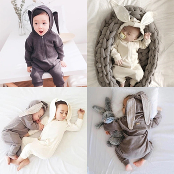 New Warm Bunny Ear Baby Romper Carton Rabbit Baby Girl Clothes Long Sleeve Infant Boy Girl Romper Jumpsuit Cotton Newborn Cloth одежда на маленьких мальчиков