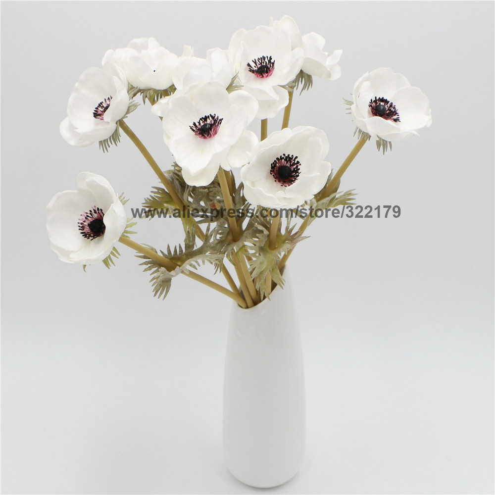 100 pcs wholesale real touch anemones wedding flowers for bouquet 100 pcs wholesale real touch anemones wedding flowers for bouquet table centerpieces natural pu flowers white anemones in artificial dried flowers from izmirmasajfo
