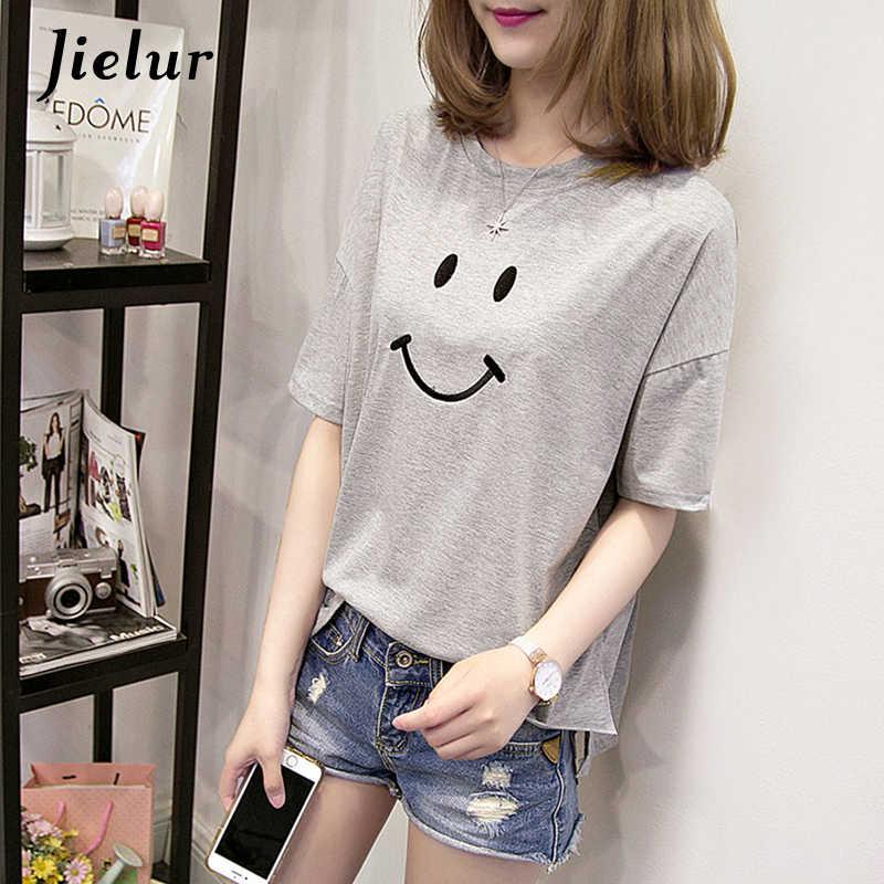2a28776890ff17 ... Jielur 2019 Summer Cute Smiley Embroidery T-shirt Preppy Style Short  Sleeve Tops Kawaii Loose ...