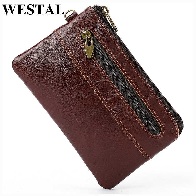 WESTAL hommes porte-carte en cuir véritable coni sac à main pour hommes mince portefeuille décontracté petit porte-cartes mince portefeuilles 8118