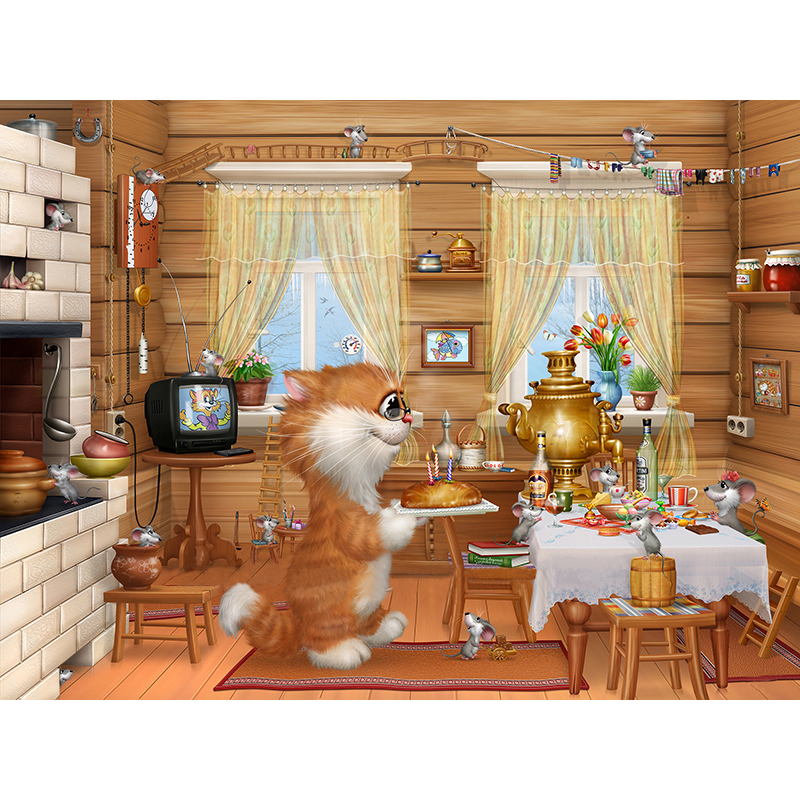 factory wholesale diy diamond Painting cross stitch Free Shipping 3d Wall Home Decoration Needlework kitchen cat pictures rolled