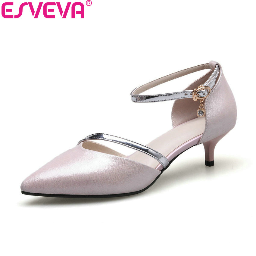ESVEVA 2018 Women Pumps Two-piece Sheepskin PU Thin Med Heels Mixed Color Pointed Toe Black Buckle Strap Women Shoes Size 34-41 venchale two heels options sheepskin