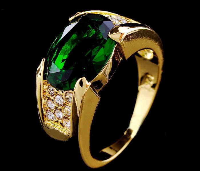Cao cấp Nam Nữ Xanh Lớn Đá Tuyệt Đẹp Nhẫn Vàng Vintage Nhẫn Cưới Cho Nam Và Nữ