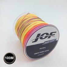 4STRANDS 100M JOF Brand 100% PE Material Multifilament PE Braided Fishing Line Super Strong 10/20/30/40/60/80/100LB
