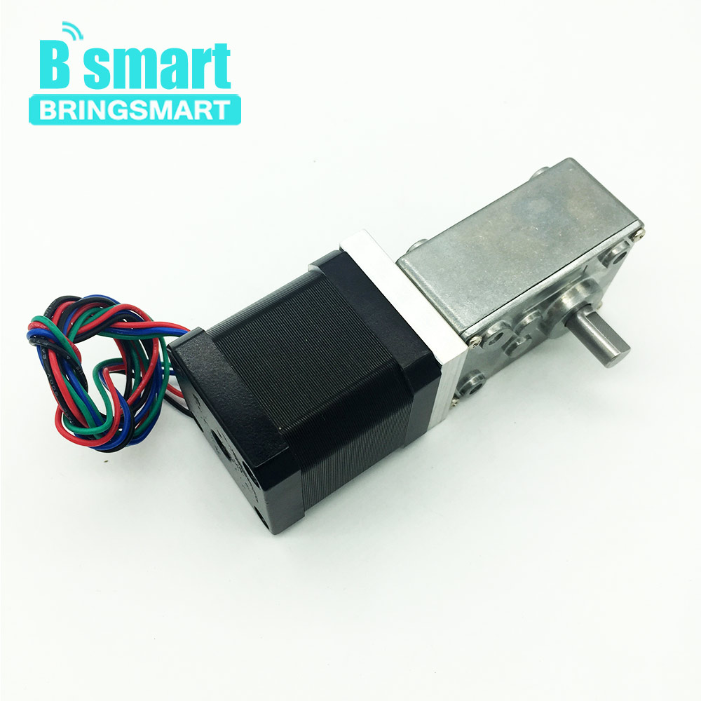 цена на Bringsmart 42BY 12V Stepping Geared Motors 24V DC Worm Stepper Gear Motor Self-locking Mini Gearbox Worm Reduction Speed Reducer