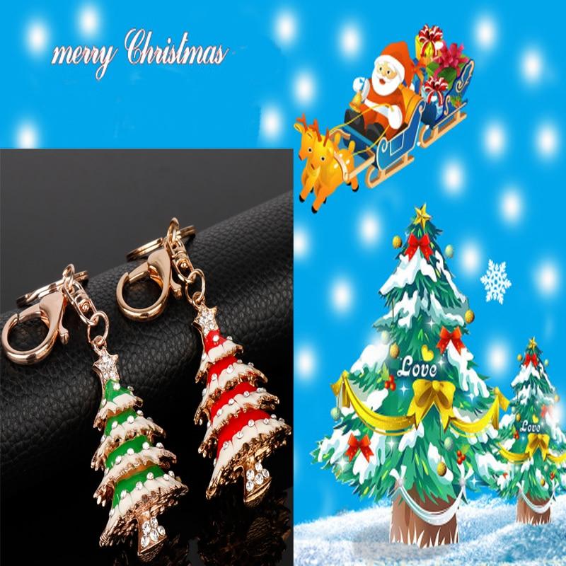 Happy New Year Christmas Tree Pendant Key Chain Crystal Lucky Gift Bag Purse Keyring Keychain Chaveiros Christmas Gifts