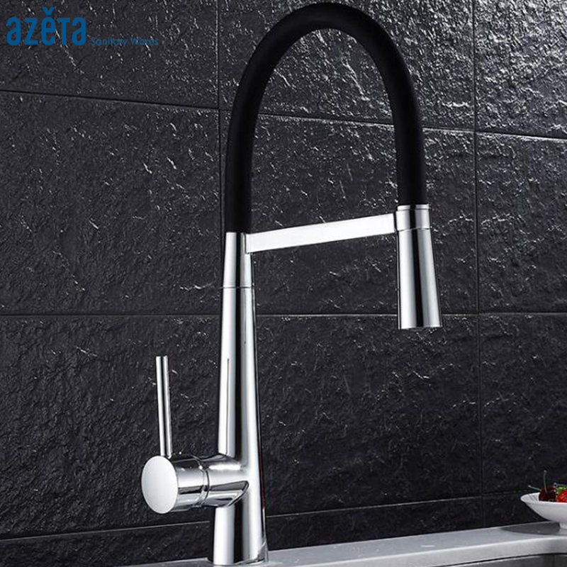 Azeta Chrome Pull Down Kitchen Faucet With Rubber Tube Design Single Handle Deck Mounted Kitchen Tap Torneira AT9914Azeta Chrome Pull Down Kitchen Faucet With Rubber Tube Design Single Handle Deck Mounted Kitchen Tap Torneira AT9914