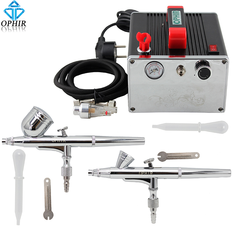 OPHIR 0.2mm 0.3mm Dual Action Airbrush Kit with Air Compressor 110V,220V Airbrush Set for Nail Art Makeup Tanning_AC091+004A+073 ophir dual action airbrush kit with mini compressor for body paint makeup nail art airbrush compressor set  ac034 ac004 ac011