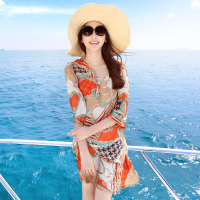 Beach Dress The Chain Printing Design Easy To Round Collar In The Sleeve Beach Dress Chiffon