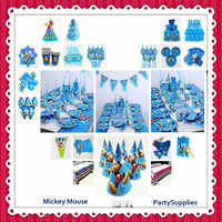 82pc/set Mickey Mouse Birthday Party Supplies kids Tablecloth Plates Cup Napkin Tableware Party Decoration Boy Happy pack 1st