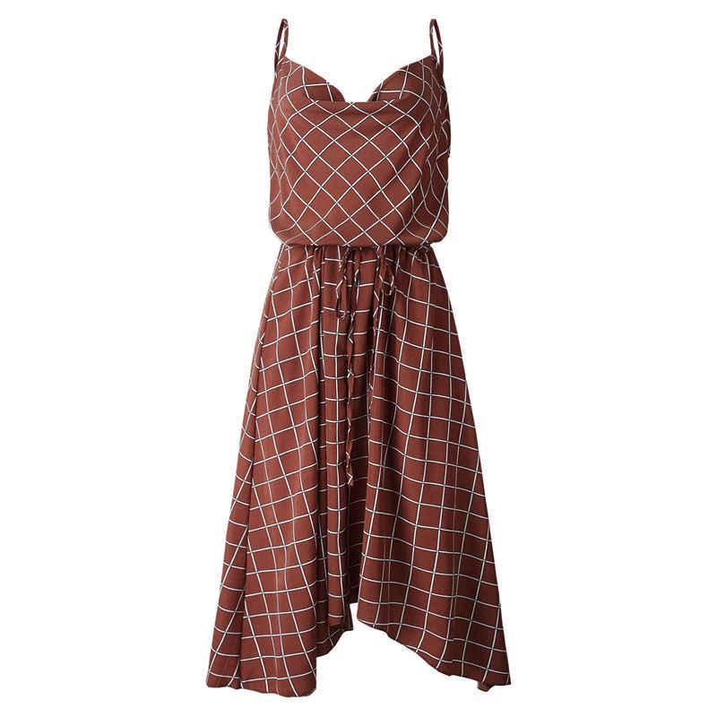 Сексуальный клетчатый шарф на бретельках, летнее платье для женщин, 2019 сарафан, миди платья для вечеринок, Vestidos