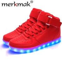 Merkmak 2017 Unisex Acende Sapatos Luminosos Led de Alta Top Brilhante Sapato Casual Com Simulação Único Sapatos Para Homens Tamanho Grande 35-46