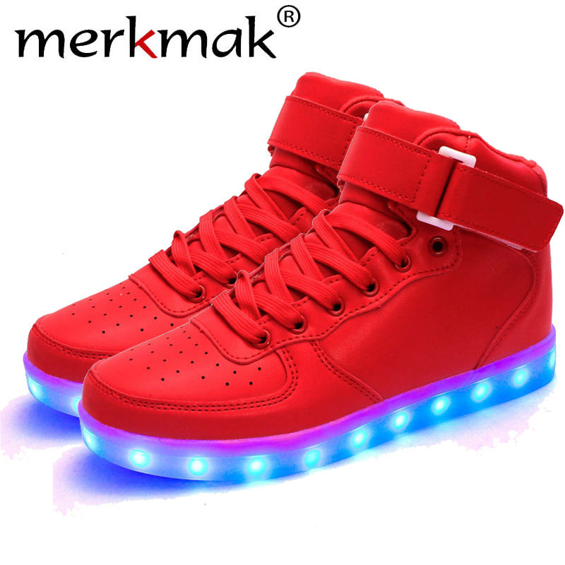 Merkmak 2018 Unisex Lights Up Led Luminous Shoes High Top Glowing Casual Shoe With Simulation Sole Shoes For Men Big Size 35-46 недорго, оригинальная цена