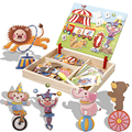Wooden Magnetic Puzzle Toys Circus Transportation Construction Figure Educational Jigsaw Baby Drawing Puzzles Toys For Children