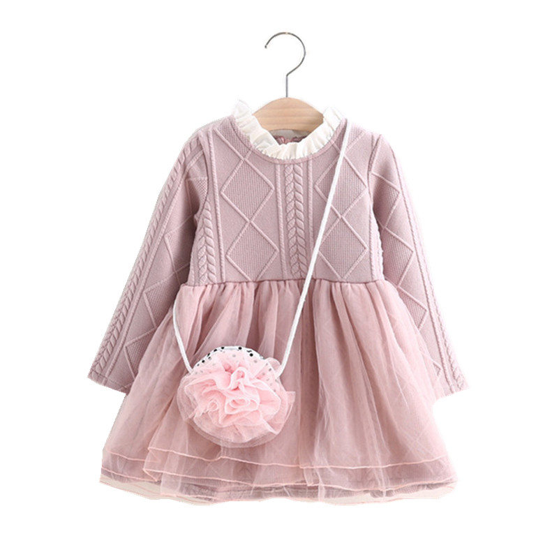 MBBGJOY 2-6years Baby Girls Knitted Dress Winter Autumn Kids Tutu Dresses Long-sleeved Baby Girl Toddler Clothing Knit Mesh children clothing new winter style knitted thick warm girl dress mesh patchwork o neck cute autumn baby kids girls dresses xl269