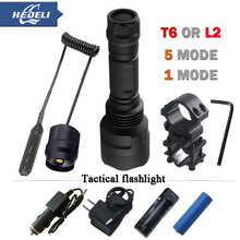 powerful flashlight 1 mode Tactical flash light XML T6 XM-L2 led torch Waterproof flash light hunting battery 18650Rechargeable