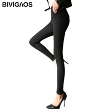 2018 Autumn New Korean Fall Womens Scratch Silm Skinny Jeans Leggings Pencil Pants Elastic Denim Leggings