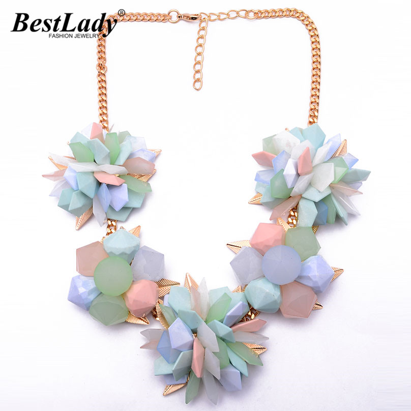 Best lady Spring New Flower Color Women Choker Resin Candy Color ZA Vintage Luxury Necklace Good Statement Jewelry8470