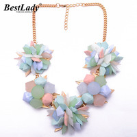 Spring New Flower Color Women Chunky Choker Resin Candy Color ZA Vintage Luxury Necklace Good Statement