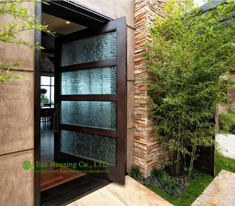 Modern Pivot Front Entry Door With Frosted Glass Design