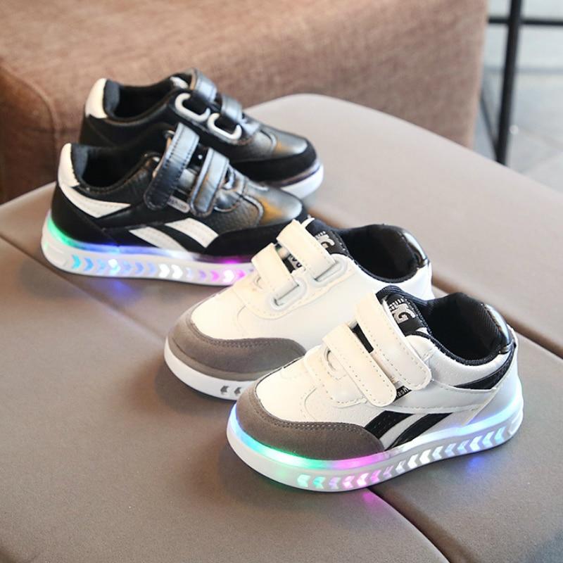 Luminous Sneakers Kids Shoes Boys Growing Sneakers PU Waterproof Sport Boys Shoes Tenis Infantil Breathable Child Light Up Shoes