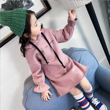 Teenage Girls Dress 2018 Winter Long Sleeve Hoodies Thick Warm Letter Dresses for big Girls Children\'s Clothing Kids Clothes