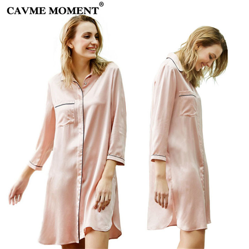 CAVME Summer Luxury Silk   Nightgown   Long   Sleepshirt   Turn-down Collar Pocket Solid Color Navy Pink Elegant Homedress One Piece