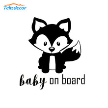 12*13cm Cute Fox baby on board Decal Funny Sticker kawaii Animals Baby Car Decor Black White L720(China)