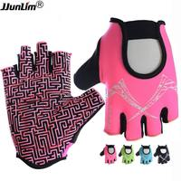 Women Pink Blue Fitness Gloves Half Finger Sport Gym Gloves Power Training Weight Lifting Dumbbell Crossfit