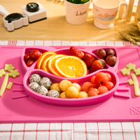 Hot Sale Lovely Baby Feeding Plate Bowl Silica Gel Plate Children Plate Sucker Bowl Baby Training Bowl Free Shipping