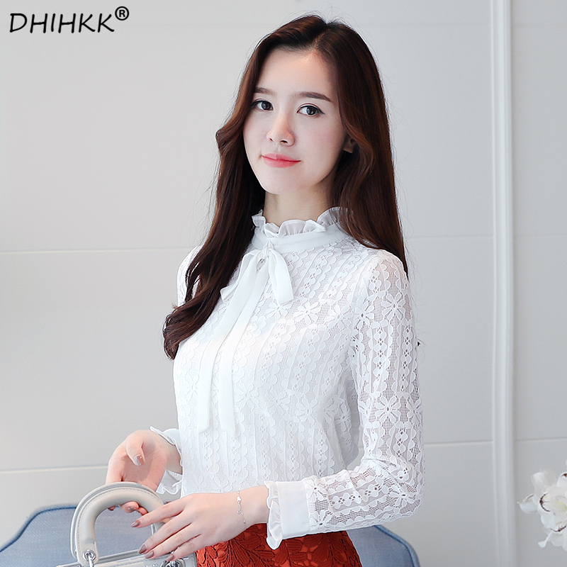 DHIHKK 2018 New Long Sleeves Women Clothing Solid Lace Women Blouse Casual Plus Size Bow Stand Neck Women Shirt Blouse