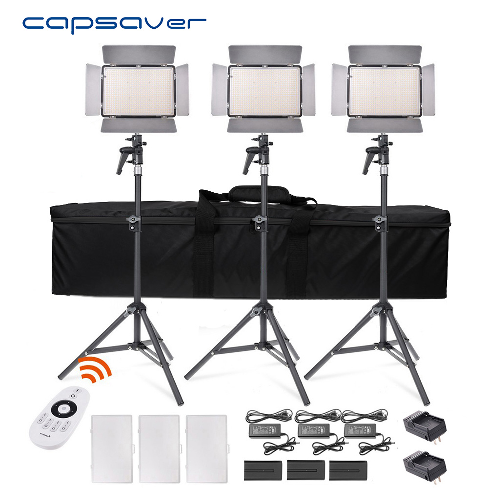 Capsaver TL-600AS Luz de vídeo LED 3 en 1 Kit de iluminación Bi-color Lámpara de foto regulable 3200 K- 5600 K CRI 95 Control remoto