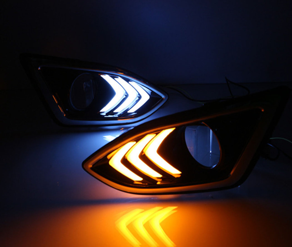 Dongzhen 1pair LED Car External Light DRL Daytime Running Light  Driving Lamp Turn Signal Light Bulb for Ford Edge 2015 2016 carbon fiber front fog light cover for bmw e46