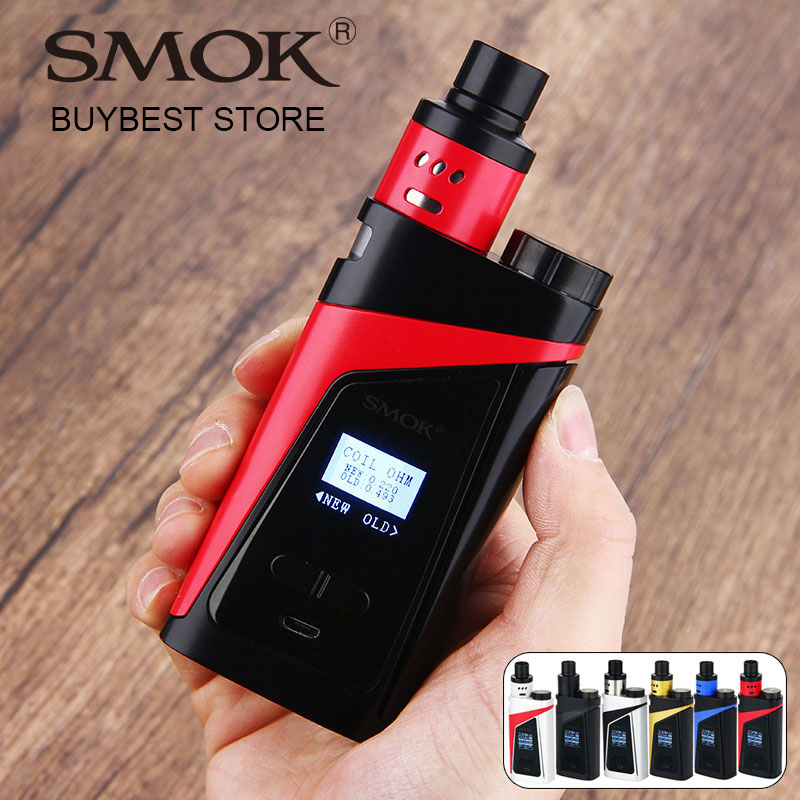 Asli 220 W SMOK SKYHOOK RDTA BOX Starter Kit Tangki Built-in 9ml ALL-in One Style Skyhook RDTA Kit vs Smok Gpriv / smok Alien