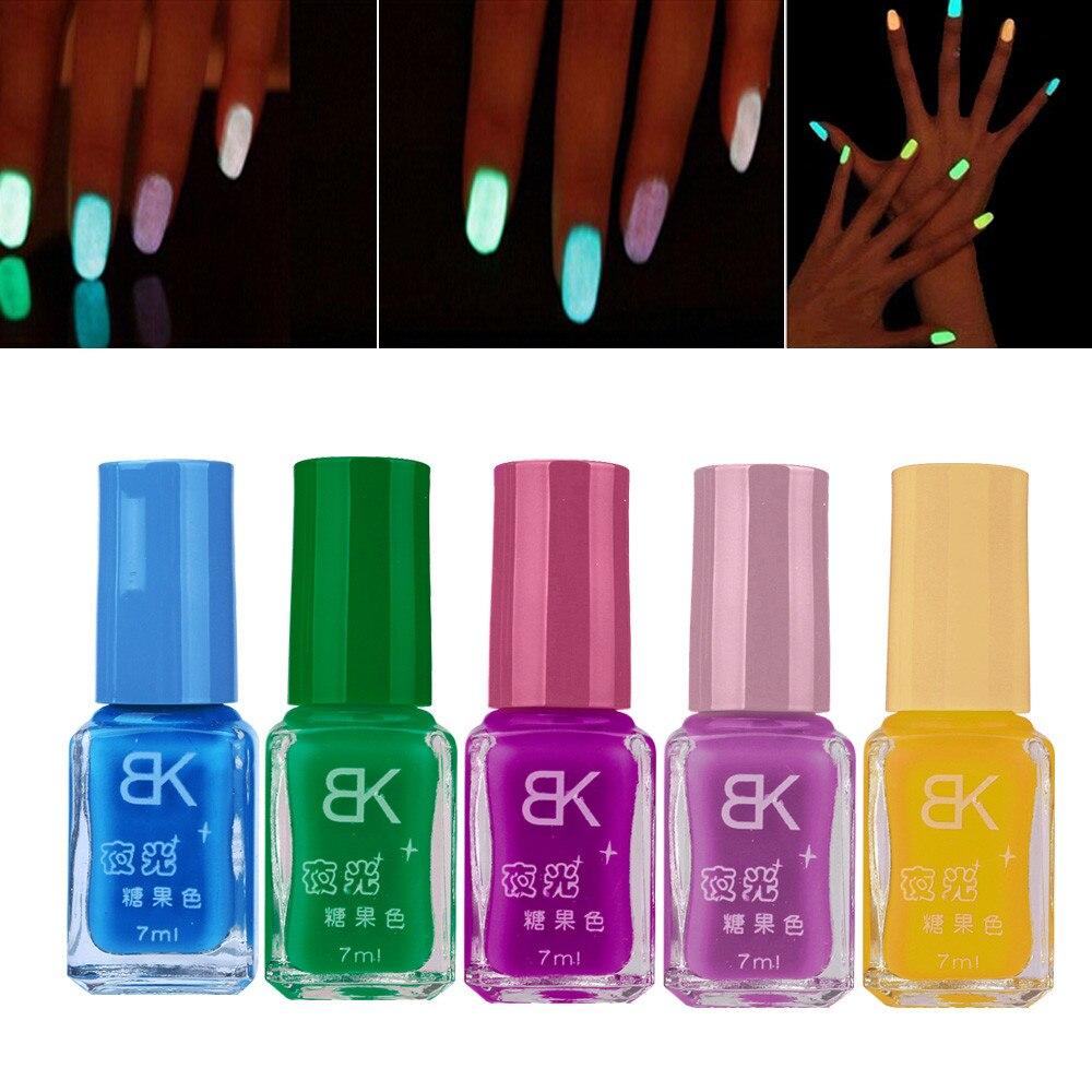 5 PCS/set Candy Fluorescent Neon Luminous Gel Nail Polish for Glow ...