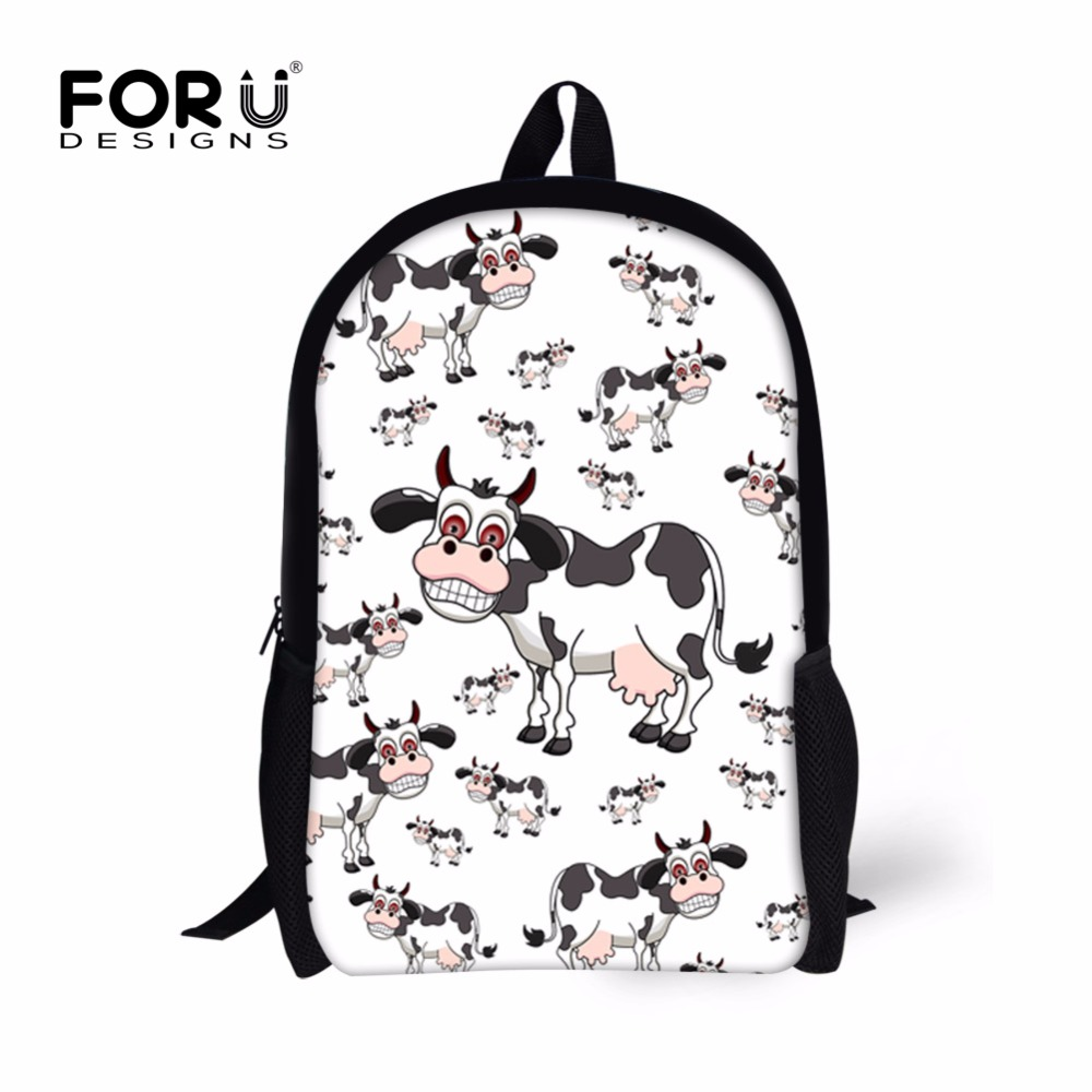 FORUDESIGNS Cute Dog Animal Kids School Bags,Cartoon Cow School Book Bag for Teenager Girls Boys, Children kid Kawaii Schoolbag