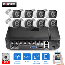 FUERS HD 4MP 1520P 8CH 6in1 AHD DVR H.265 Surveillance System Waterproof Outdoor Camera Security System Video CCTV P2P HDMI Kit