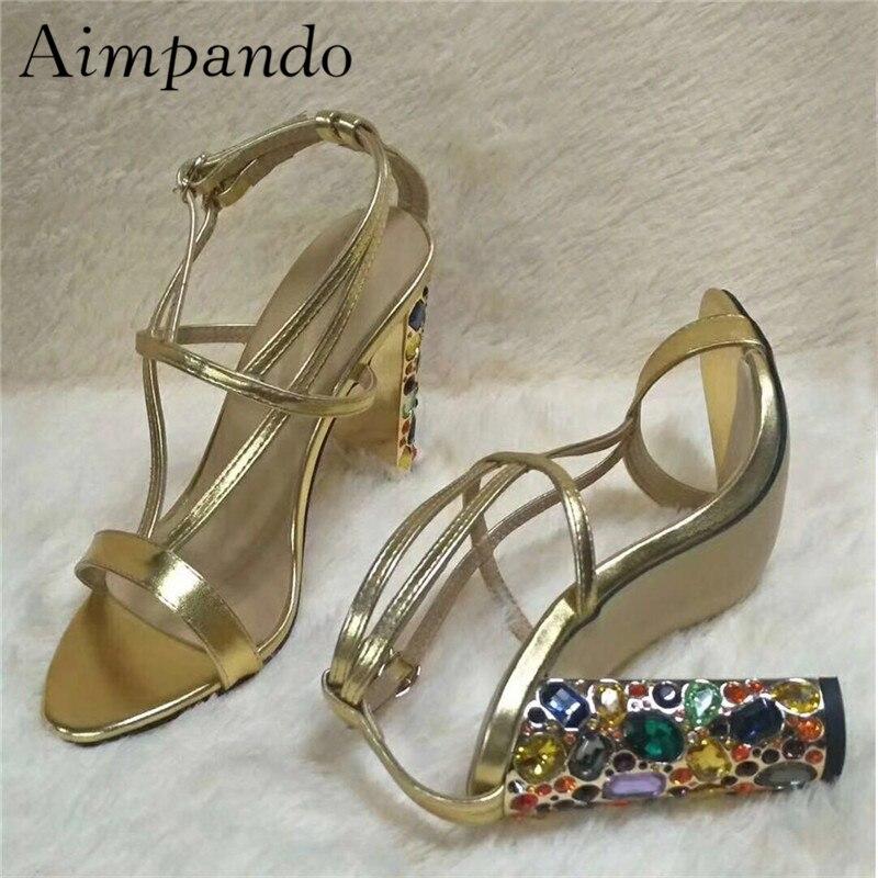 Новинка, летние разноцветные сандалии на массивном каблуке, украшенные стразами, женские сандалии гладиаторы с открытым носком и ремешками