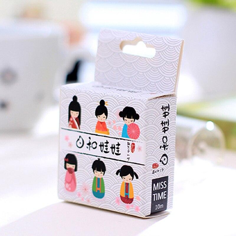 цена E16 5 Meters Long Kimono Japanese Girl Washi Tape Adhesive Tape DIY Scrapbooking Sticker Label Masking Tape