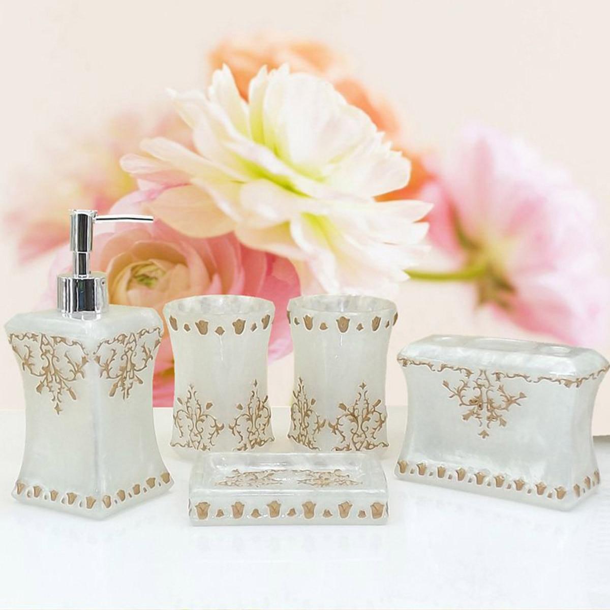 New 5PCS Resin Bathroom Accessories Set Pearl Floral