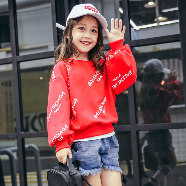 2018 Baby Girls Spring Pullovers Shirt Bed Korean Street Style Tees Cool Fashion  Teen Children Top Age 456789 10 11 12 Years Old