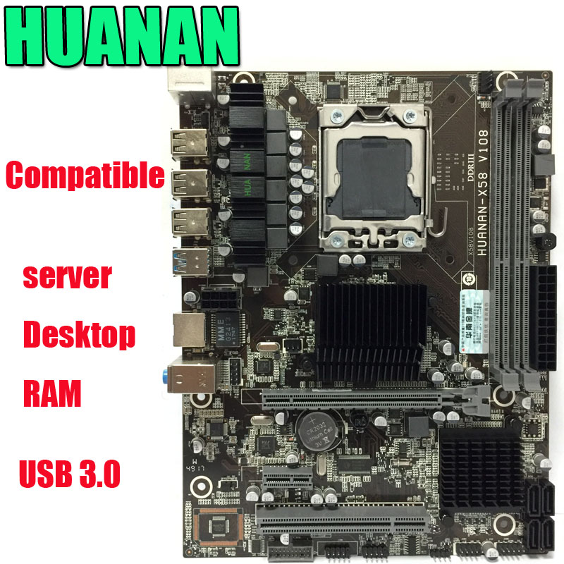 HUANAN X58 LGA 1366 DDR3 PC Desktops Motherboards Computer Computer Motherboards Suitable for server ECC ECC REG RAM