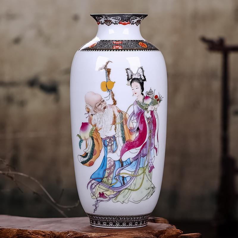 Jingdezhen Chinese Vintage Tabletop Flower Vase Home Decoration White Ceramic Porcelain Vase for Flower Exquisite Paintings Vase vase