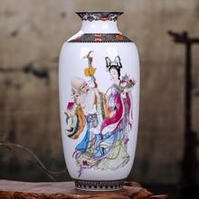 лучшая цена Jingdezhen Chinese Vintage Tabletop Flower Vase Home Decoration White Ceramic Porcelain Vase for Flower Exquisite Paintings Vase